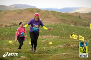 Mrs Sticks tops out on Reston Scar (aka The Sting in the Tail) above Staveley. I was with the kids at the start/finish, not in running gear!