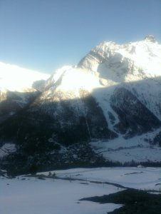 Looking down on Saas Fee, village. Best running view ever.