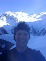 Summit selfie. Saas Fee ski area in the background.