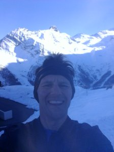 Summit selfie. Saas Fee ski area in the background.