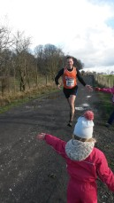Sprint finish to 10th place at the Standish Hall Trail Race, Feb 2105
