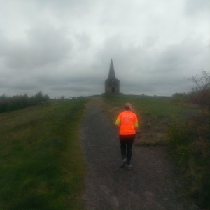 Mrs Sticks approaches the summit of Ashurst Beacon for the first time.