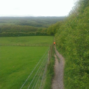 Mrs Sticks climbs the (very) steep footpath between the canal and Parbold Hill - my favourite training path.