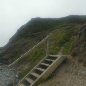 Yet another descent from cliff top to sea level, and back up again!