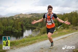 Cruising, some may say smug, 9 miles into the Lakeland Trails Coniston Marathon. (Photo courtesy of James Kirby @jumpyjames)