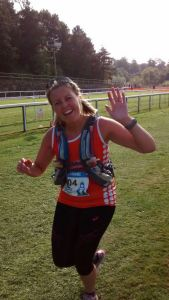 How can you be this cheerful after 26 miles?! Leanne on her way to the finish line at Chester Racecourse.
