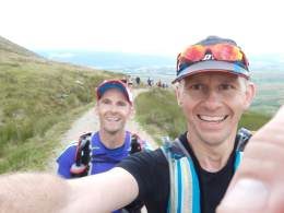 Rob and I top out on the Walna Scar Road last year and say goodbye to Coniston Water. We won't be running together this year, but I'll be watching him on the tracker!
