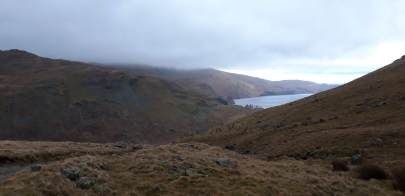 The view looking back down on Haweswater from the Gatesgarth Pass.
