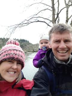 Leanne, Lottie and I near our cottage on Llyn Geirionydd.