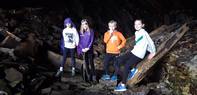 Exploring the old mining caves near Lynn Crafnant.