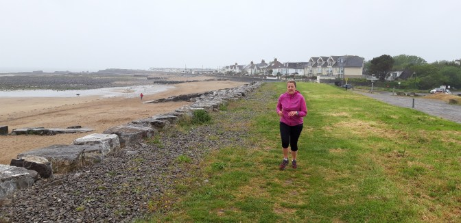 The coastal path in the rain (again!) before it finally gave way to sand!
