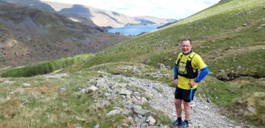 Jeff half way up Gatesgarth looking back at our route along Haweswater.